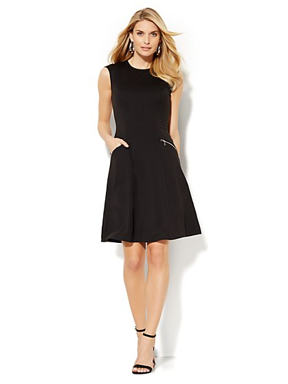 7th Avenue Design Studio - Modern Flare Dress - Zip Accent - Petite  - New York & Company