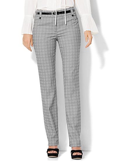 7th Avenue Design Studio - Modern - Leaner Fit - Straight-Leg Pant - Black & White Plaid - Petite  - New York & Company