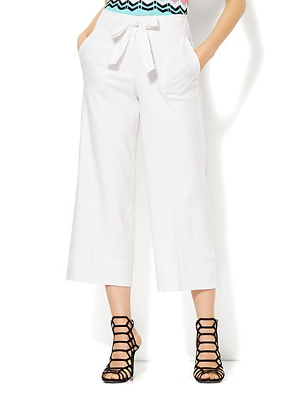 7th Avenue Design Studio - Modern - Leaner Fit - Tie Front Culotte - Linen - Optic White - New York & Company