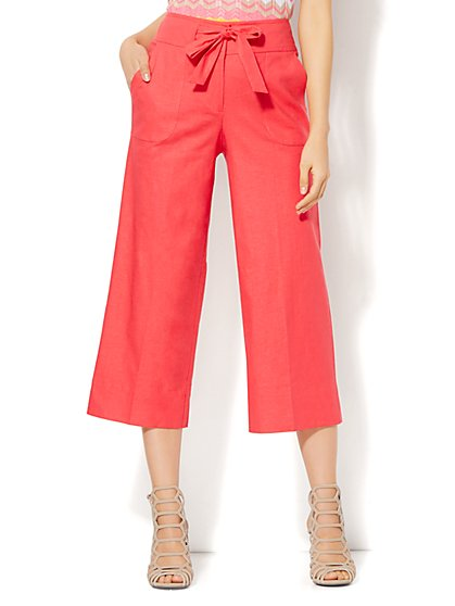 7th Avenue Design Studio - Modern - Leaner Fit - Tie Front Culotte - Linen - Solid - New York & Company