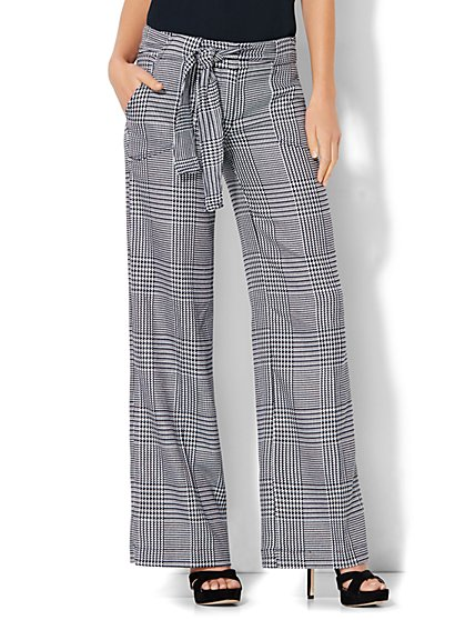 7th Avenue Design Studio - Modern - Leaner Fit - Wide-Leg Pant - Plaid - Tie Belt - New York & Company