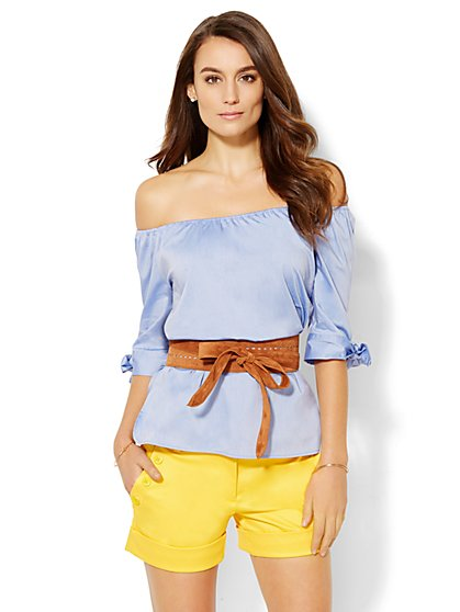 7th Avenue Design Studio - Off-The-Shoulder Peasant Blouse  - New York & Company