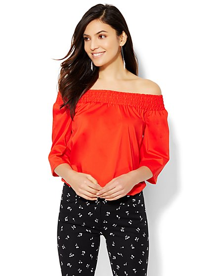 7th Avenue Design Studio - Off-the-Shoulder Blouse - Solid  - New York & Company