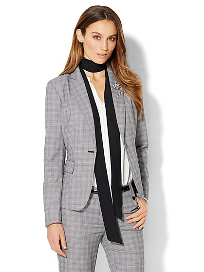 7th Avenue Design Studio - One-Button Jacket - Modern Fit - Black & White Plaid - Petite  - New York & Company