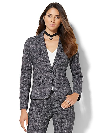 7th Avenue Design Studio - One-Button Jacket - Signature Fit - Black & White Plaid - Petite  - New York & Company