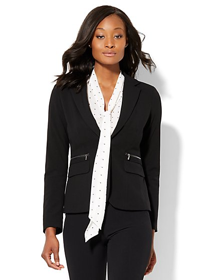 7th Avenue Design Studio - One-Button Jacket - Zip-Accent - Modern Fit - Double Stretch - Petite  - New York & Company