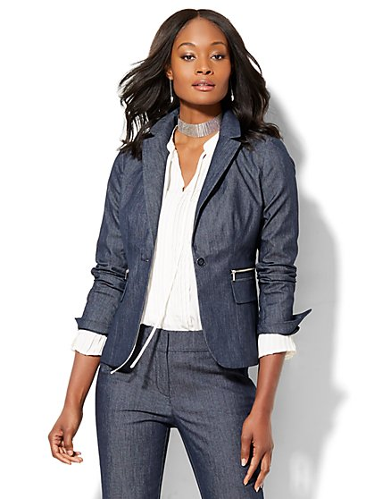 7th Avenue Design Studio - One-Button Jacket - Zip Accent - Modern Fit - Grand Sapphire - Petite  - New York & Company