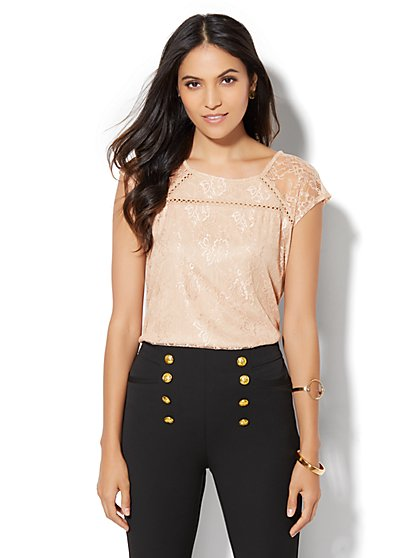 7th Avenue Design Studio - Open-Stitch Lace Overlay Top  - New York & Company