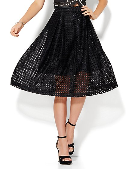 7th Avenue Design Studio - Open-Weave Pleated Skirt  - New York & Company