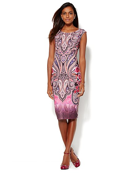 7th Avenue Design Studio - Paisley Scuba Sheath Dress - New York & Company