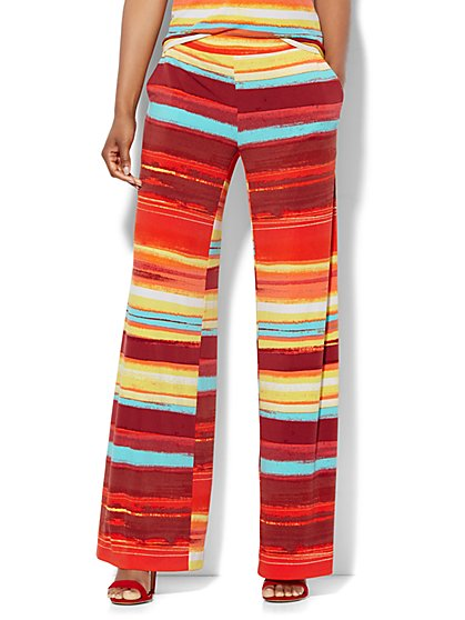 7th Avenue Design Studio - Palazzo Pant - Abstract Stripe  - New York & Company
