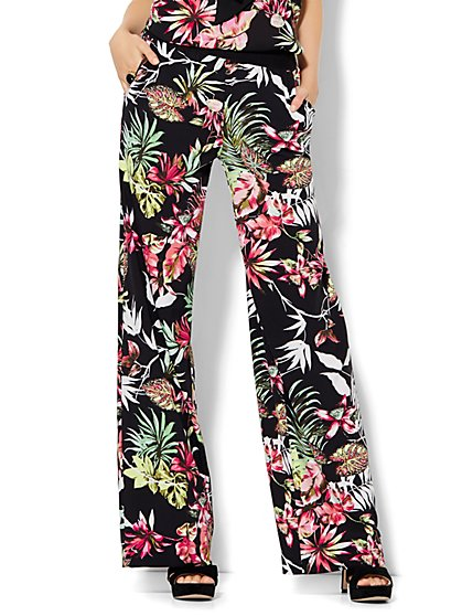 7th Avenue Design Studio - Palazzo Pant - Tropical Print - Petite - New York & Company