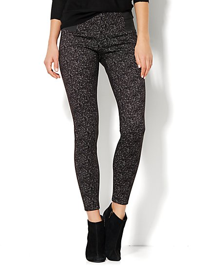 7th Avenue Design Studio Pant - Legging Fit - Stretch Panels - Black Speckle  - New York & Company