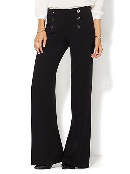 7th Avenue Design Studio Pant - Modern Fit - Sailor Pant - Black - New York & Company