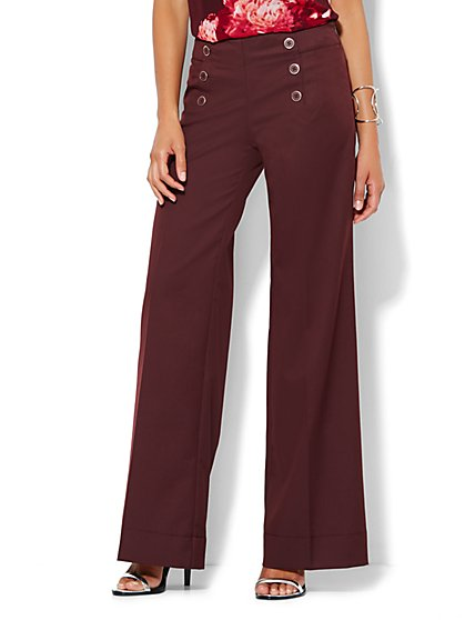 7th Avenue Design Studio Pant - Modern Fit - Sailor Pant -True Burgundy - New York & Company