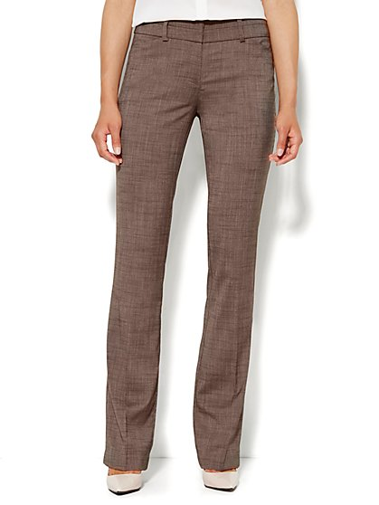 7th Avenue Design Studio Pant - Modern Fit - Straight - Brown - Petite  - New York & Company