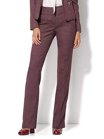 7th Avenue Design Studio Pant - Modern Fit - Straight Leg - Black Tweed - Petite  - New York & Company