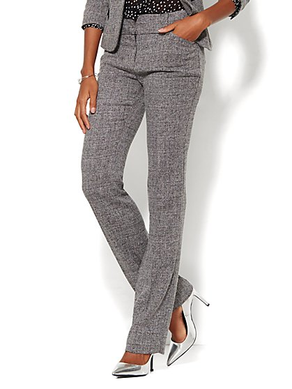 7th Avenue Design Studio Pant - Modern Fit - Straight Leg - Black Tweed - Tall  - New York & Company