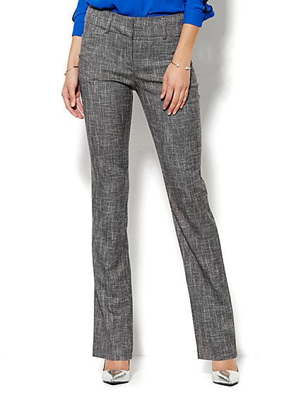 7th Avenue Design Studio Pant - Modern Fit - Straight Leg - Brown Tweed - Petite - New York & Company