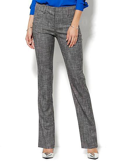 7th Avenue Design Studio Pant - Modern Fit - Straight Leg - Brown Tweed - Petite - New York & Company