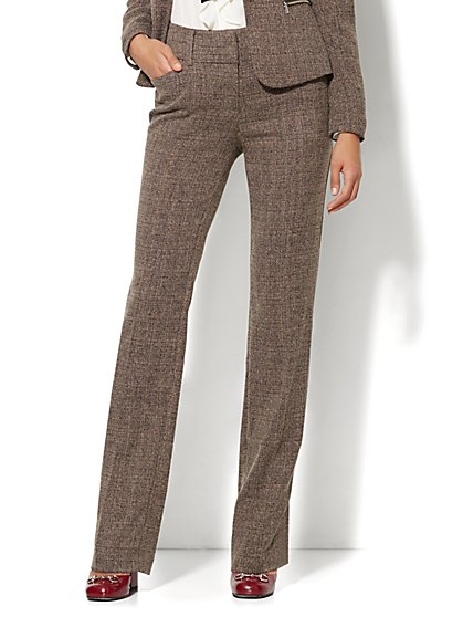 7th Avenue Design Studio Pant - Modern Fit - Straight Leg - Brown Tweed - New York & Company