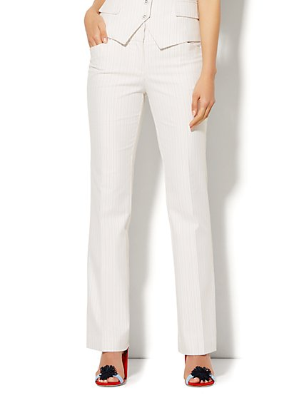 7th Avenue Design Studio Pant - Modern Fit - Straight Leg - Driftwood Stripe - New York & Company