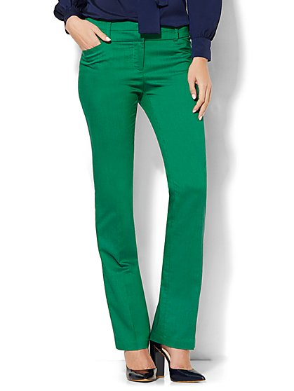 7th Avenue Design Studio Pant - Modern Fit - Straight Leg - Floral Park Green  - New York & Company
