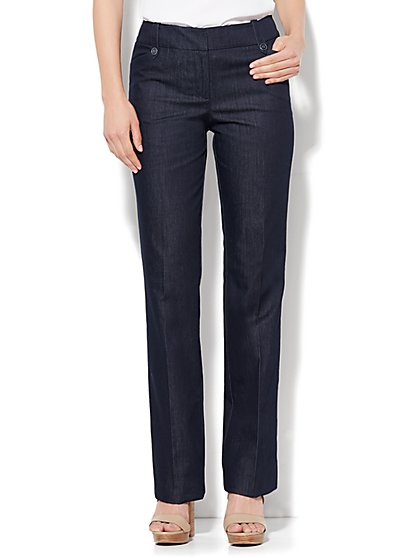 7th Avenue Design Studio Pant - Modern Fit - Straight Leg - Hidden Blue - Petite - New York & Company
