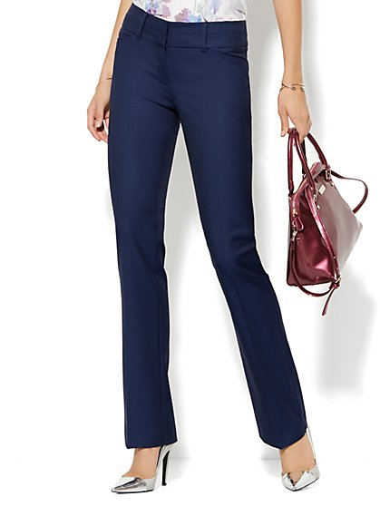 7th Avenue Design Studio Pant - Modern Fit - Straight Leg - Navy - Petite - New York & Company
