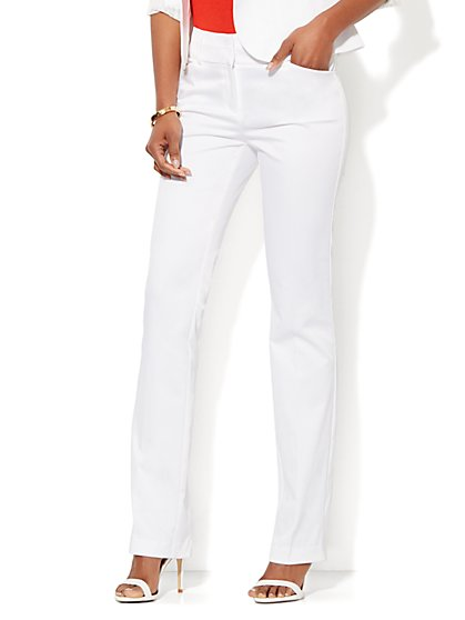 7th Avenue Design Studio Pant- Modern Fit - Straight Leg - Optic Twill - Petite  - New York & Company