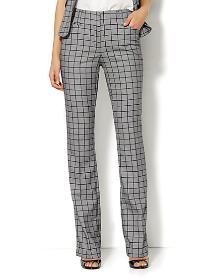 7th Avenue Design Studio Pant - Modern Fit -  Straight Leg - Plaid - Petite  - New York & Company