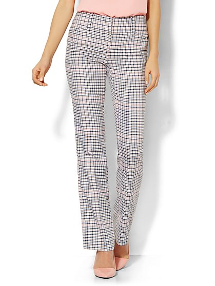 7th Avenue Design Studio Pant - Modern Fit - Straight Leg - Plaid - New York & Company
