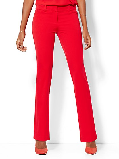7th Avenue Design Studio Pant - Modern Fit - Straight Leg SuperStretch - Flamenco Red  - New York & Company