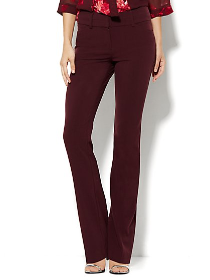 7th Avenue Design Studio Pant - Modern Fit - Straight - True Burgundy - New York & Company