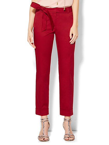 7th Avenue Design Studio Pant - Modern Fit - Tie Waist Ankle - Berry Crush - New York & Company