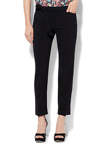 7th Avenue Design Studio Pant - Modern Fit - Tie Waist Ankle - Double Stretch - New York & Company