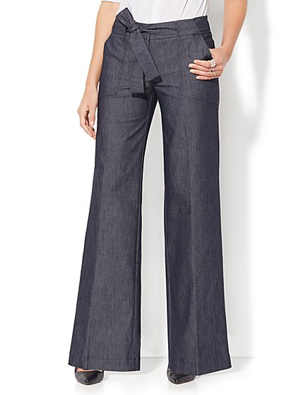 7th Avenue Design Studio Pant - Modern Fit - Wide Leg - Grand Sapphire  - New York & Company