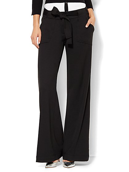 7th Avenue Design Studio Pant - Modern Fit - Wide-Leg Knit Pant - Solid  - New York & Company