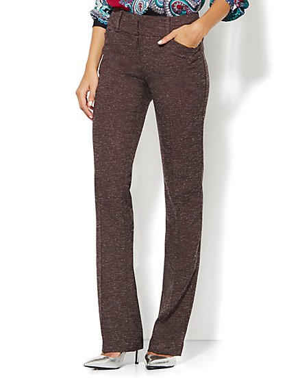 7th Avenue Design Studio Pant - Modern - Leaner Fit - Straight Leg - Brown - Petite  - New York & Company