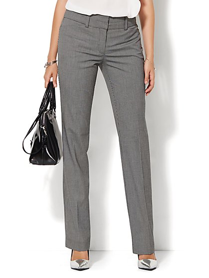 7th Avenue Design Studio Pant - Modern - Leaner Fit - Straight Leg - Check Print - Petite - New York & Company