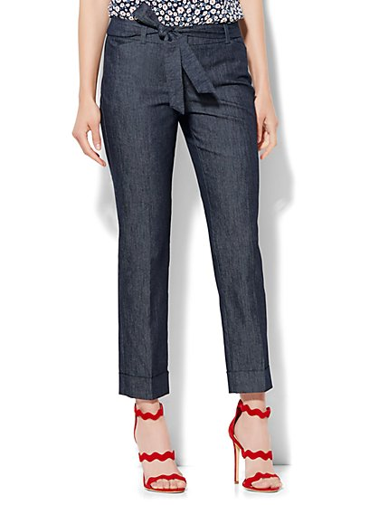 7th Avenue Design Studio Pant - Modern - Leaner Fit - Tie Waist Ankle - Grand Sapphire - New York & Company