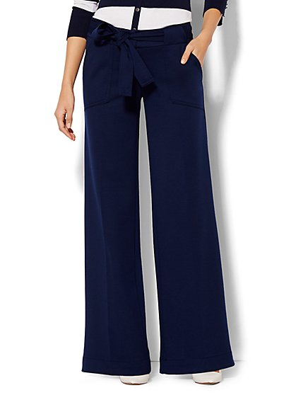 7th Avenue Design Studio Pant - Modern - Leaner Fit - Wide-Leg Knit Pant - Solid  - New York & Company