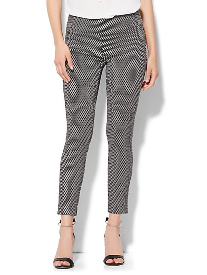 7th Avenue Design Studio Pant - Pull-On Ankle Legging - Black/White - Tall - New York & Company