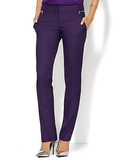 7th Avenue Design Studio Pant - Runway Fit - Slim Flare - Zip Accent - Stretch - New York & Company