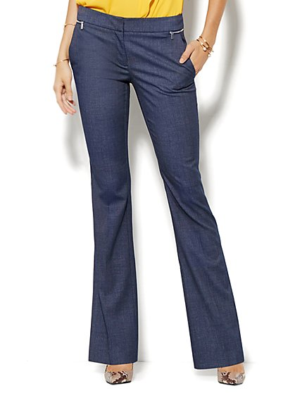 7th Avenue Design Studio Pant - Runway Fit - Slim Flare - Zip Accents - Brown - Petite - New York & Company