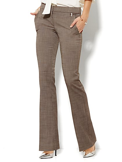 7th Avenue Design Studio Pant - Runway Fit - Slim Flare - Zip Accents - Brown - Tall - New York & Company