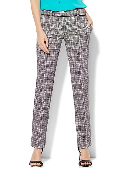 7th Avenue Design Studio Pant - Runway Fit - Slim Leg - Black & White Print  - New York & Company