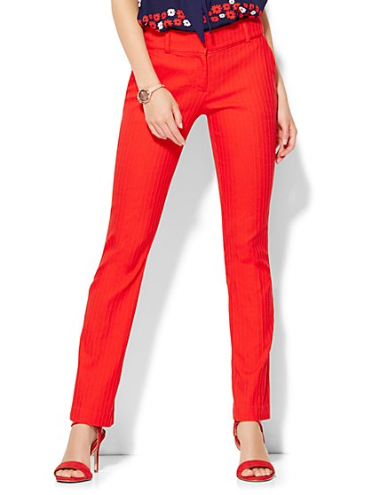7th Avenue Design Studio Pant - Runway Fit - Slim Leg - Campfire Red  - New York & Company