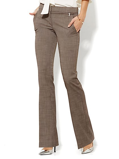 7th Avenue Design Studio Pant - Runway - Slimmest Fit - Slim Flare - Zip Accents - Brown - Petite - New York & Company