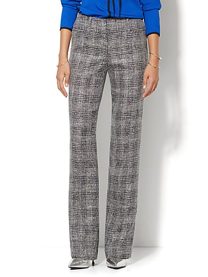 7th Avenue Design Studio Pant - Signature Fit - Bootcut - Black Plaid - Tall - New York & Company